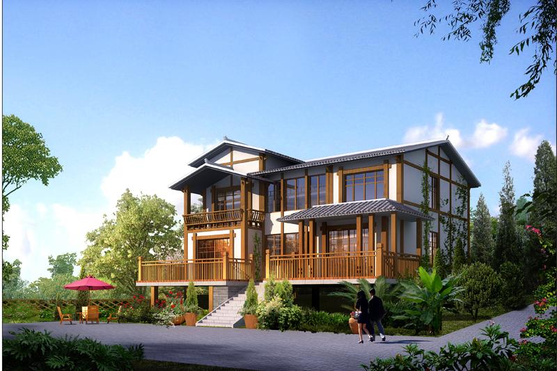 zs204新农村二层中式别墅全套施工图 自建房建筑施工效果图cad